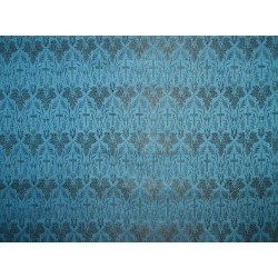 Silk Brocade Vestment Fabric Blue & Black