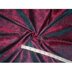 "BROCADE FABRIC DEEP PINK,BLUE X BLACK COLOR 44""INCH"