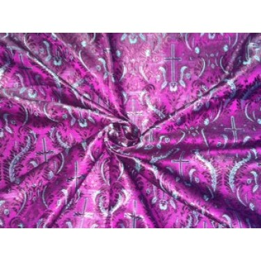 VESTMENT  Brocade fabric dark purple and blueish grey  Colour
