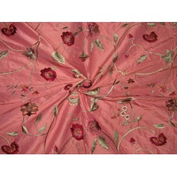 "100% SILK DUPION  CORAL  FLORAL EMBROIDERY 54""SINGLE LENGTH 2.70 YARDS"