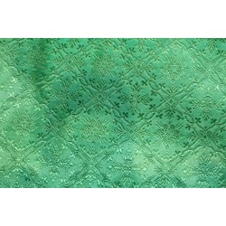 Brocade Fabric Green color Liturgical Vestment Cross Design BRO213[3]