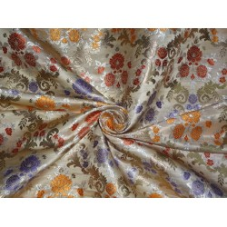 heavy satin weave silky beige multi colour brocade fabric