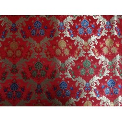 heavy satin weave multi colour brocade fabric