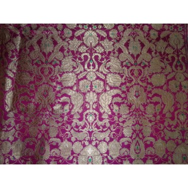 Heavy  Brocade Fabric Metallic gold dark pink