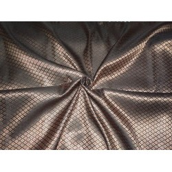 Spun SILK BROCADE FABRIC Black & Metallic Gold COLOUR 44""