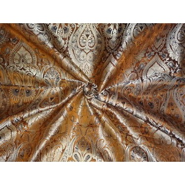 SILK BROCADE FABRIC Dark Mustard & Metallic GOLD COLOUR 44""