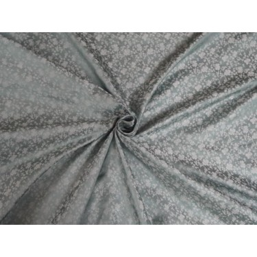 "100% PURE SILK BROCADE FABRIC Dusty BLUE & Grey COLOUR 44""BRO391[5]"