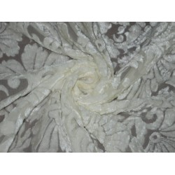 Polyester viscose burnout Ivory Cream Velvet fabric