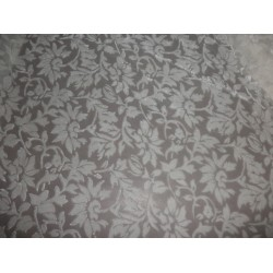 devore Polyester viscose burnout dark Ivory / Cream Velvet fabric  *