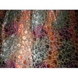 Devore  Polyester viscose burnout multi colour Velvet fabric 44*