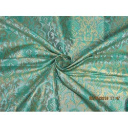 Heavy Silk Brocade Fabric green x Metallic Gold color 36'' bro587[2]