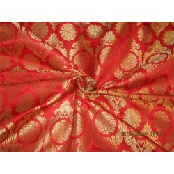"Silk Brocade fabric red x metallic gold 44"" BRO585[4]"