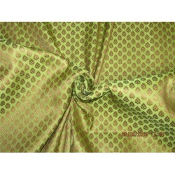 Silk Brocade Fabric 3.80YDS LIME GREEN and METALIC gold BRO588[9]
