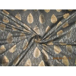 "Silk Brocade Fabric 3.90 YARDS silver grey,black & metallic gold 44""BRO587[4]"