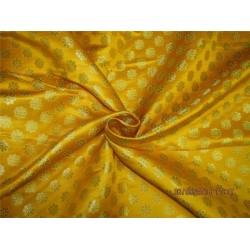 "Silk Brocade Fabric 3.90 YARDS mango x metallic gold color 44""BRO588[8]"