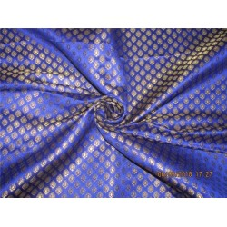 "Silk Brocade Fabric 3.25 YARDS Royal blue x metallic gold color 44""BRO588[11]"