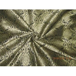 Heavy Silk Brocade Fabric black x Metallic Gold color 36'' bro583[1]