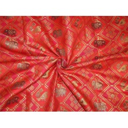 "Brocade Fabric red,pink  x metallic gold color and elephant figure 44"" Bro590[1]"