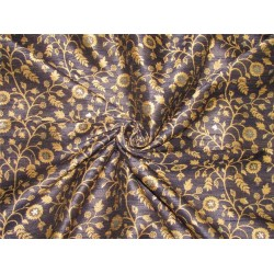 Silk Brocade Fabric navy blue X gold color 44'' BRO592[5]