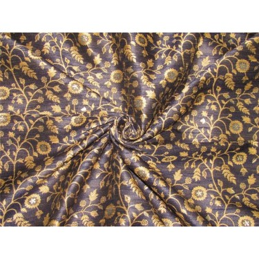Silk Brocade Fabric navy blue X gold color 58 inches by the yard BRO592[5]
