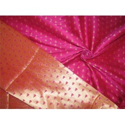 Reversible Silk Brocade Fabric magenta X gold color 44'' BRO592[2]