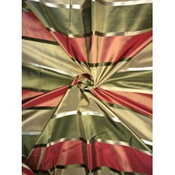 Silk taffeta fabric gold,green,rust with satin stripes 54'' TAFS146[2]
