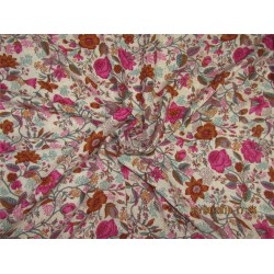 "Modal printed fabric Ivory, pink,brown 44"" wide-floral"