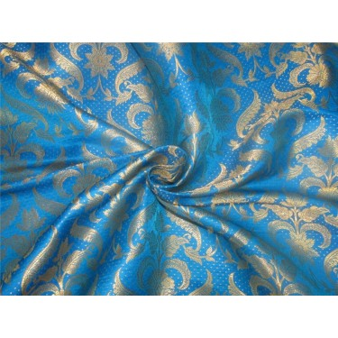 Brocade Fabric turquoise X  metallic gold color 44'' BRO593[3]