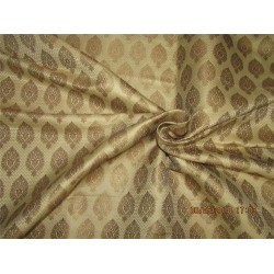 "Silk Brocade Fabric 3.40 YARDS beige x metallic gold 44""BRO588[2]"