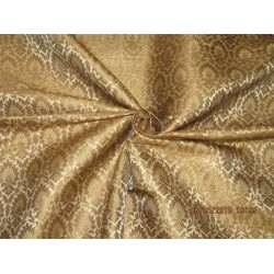 "Silk Brocade Fabric 4 YARDS Creamy beige x antique gold 44""BRO588[1]"