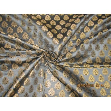 "Silk Brocade Fabric 3.45 YARDS silver grey,black & metallic gold 44""BRO587[5]"