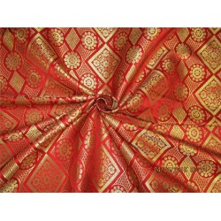 Silk brocade fabric Bright red x metallic gold color 44'' bro582[2]