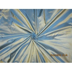 "100% Pure Silk Taffeta Fabric Sea blue x gold Color 54""taf289"