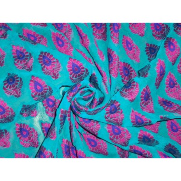 silk georgette jacquard fabric 44*-blue