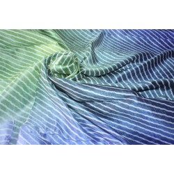 "100% silk fabric 14 MM STRIPED BLOCK PRINT fabric 44"" wide royal blue/blue and green"