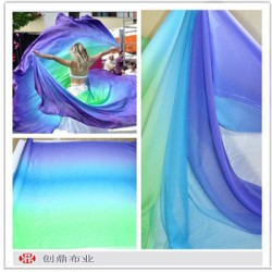 30d shade chiffon fabric fr dress blue green gradient chiffon fabric for dancing