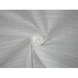 White cotton organdy fabric dobby design