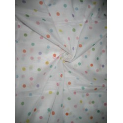Cotton organdy printed fabric White & Multi Color Dots 44 inches wide