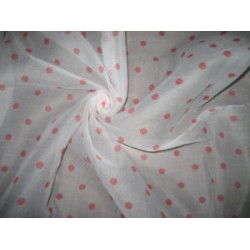 Cotton organdy printed fabric White with PinkishRed Dot