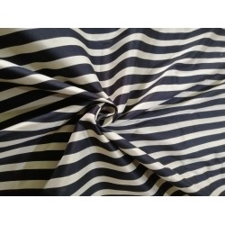 Cotton  Silk Yarn Dyed stripe black and ivory 54""