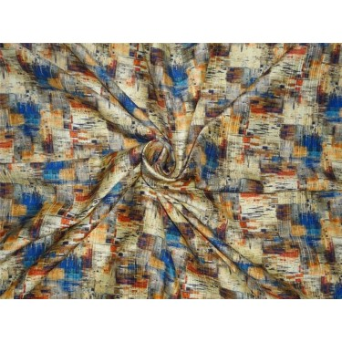 "100% pure silk dupioni  fabric in multi color print 44"" wide"