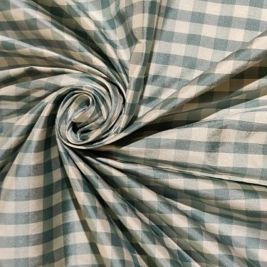 "100% SILK Dupioni FABRIC 54"" wide green sea green & IVORY color plaids DUPC108[2]"