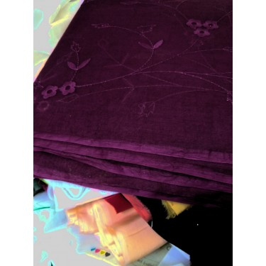 "cotton organdy fabric 44""-dark aubergine + embroidery"