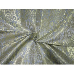 Heavy Brocade fabric BLUEISH GREY x metallic gold color 36'' BRO672[3]