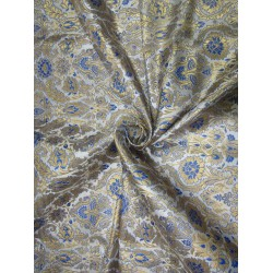 Heavy Brocade fabric IVORY BLUE x metallic gold color 36'' BRO672[2]