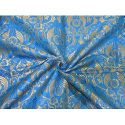 Heavy Brocade fabric BLUE x metallic gold color 36'' BRO672[4]