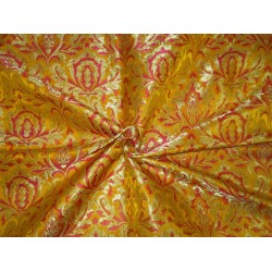 Heavy Brocade fabric mango gold/pink  x metallic gold color 36'' BRO672[1]