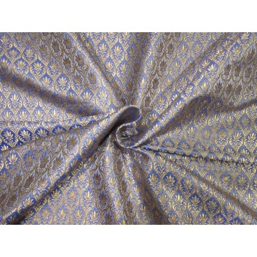 Brocade jacquard fabric royal blue   x metallic gold color 44'' BRO673[5]