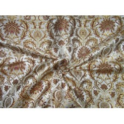 Heavy Brocade fabric ivory /brown  x metallic gold color 36'' BRO673[1]