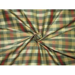 "100% SILK Dupioni FABRIC 54"" wide MULTI color plaids DUPC105[1]"